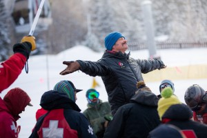 Avalanche dog instructor leads students in an exercise