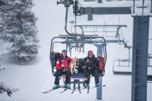 Ski patrollers on chairlift with dogs